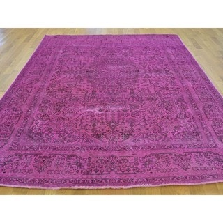 Hand-knotted Semi Antique Persian Tabriz Overdyed Rug (6'4 x 8'10)