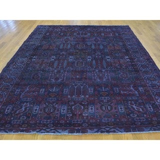 Semi Antique Hand-knotted Persian Bakhtiari Overdyed Rug (6'10 x 9')