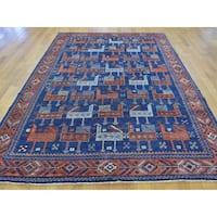 Antiqued Shiraz with Stylized Birds Handmade Pure Wool Rug (6' x 8'8)