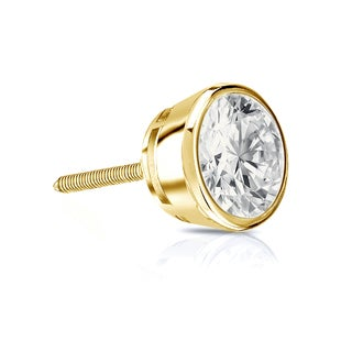 Auriya 14k Gold 3/4ct TDW Round-Cut Diamond Bezel Screw-Back Single Stud Earring (I-J, SI2-SI3)