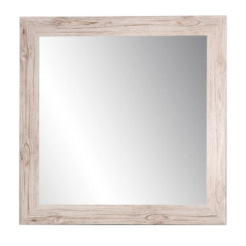 "BrandtWorks 32"" Handcrafted Oyster Grain Square Decorative Wall Mirror"