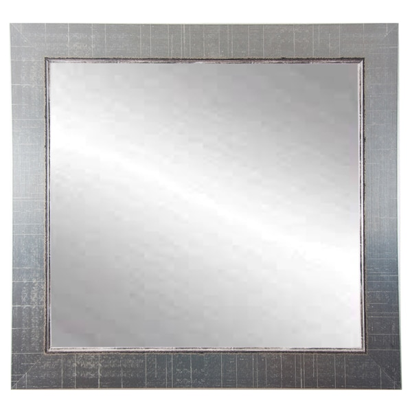 BrandtWorks Silver Lined 31.5 -inch Square Wall Mirror - Nickel