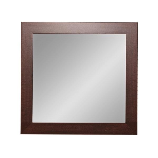 BrandtWorks Dark Walnut 32-inch Square Wall Mirror