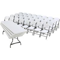 Lifetime 8 Foot Commercial Stacking Table and Chair Combo