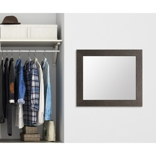 BrandtWorks Scratched Black 32-inch Square Wall Mirror - Black/Silver