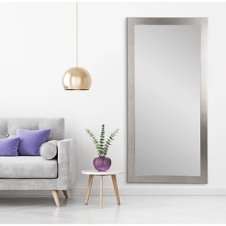 Tall Stainless Silver Grain Wall Mirror