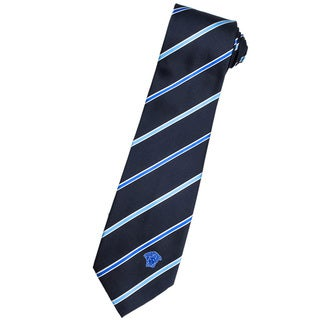 Versace 100-percent Italian Silk Dark Blue/ Light Blue Stripe Neck Tie
