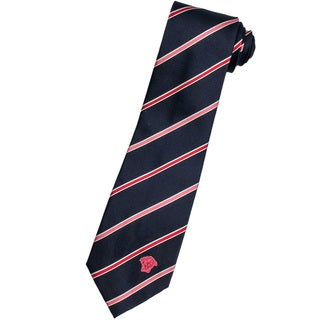 Versace 100-percent Italian Silk Blue/ Salmon Pink Stripe Neck Tie