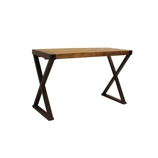 The Urban Port Industrial Design Console Table For Entryways With Wooden Top And Metal X Base