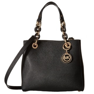 Michael Kors Cynthia Black Small North/South Saffiano Satchel Handbag