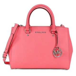 Michael Kors Sutton Medium Coral Saffiano Leather Satchel Handbag