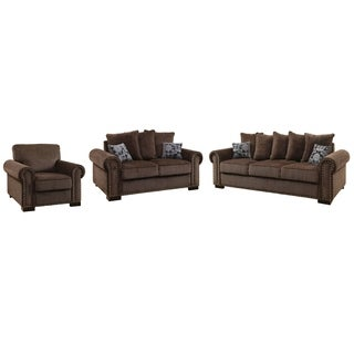 Furniture of America Pana Transitional 3-piece Brown Chenille Sofa Set
