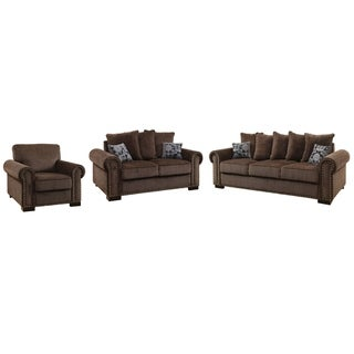 Furniture of America Pana Transitional Brown Chenille 3-piece Sofa Set