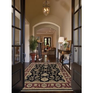 Hand-knotted Caleb Ebony/ Red Handspun Blended New Zealand Wool Rug (10 x 14')