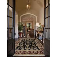 Hand-knotted Caleb Ebony/ Red Handspun Blended New Zealand Wool Rug - 8' x 10'