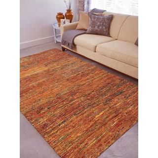 Hand-woven Menlo Park Orange Saree Silk Rug (2' x 3')
