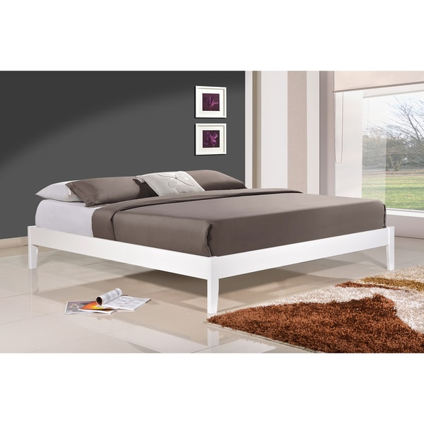 Altozzo Manhattan Queen Size Solid Wood White Platform Bed