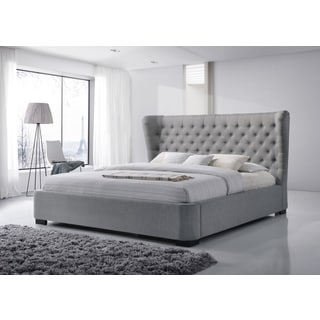 Manchester King-Size Tufted Wing Upholstered GreyPlatform Bed