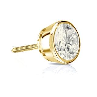 Auriya 14k Gold 1ct TDW Round-Cut Diamond Bezel Screw-Back Single Stud Earring (J-K, I2-I3)