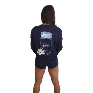 Mason Jar Collection Women's Long Sleeve Pocket Navy T-Shirt