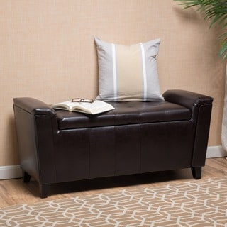 Christopher Knight Home Alden Tufted Faux Leather Armed Storage Ottoman Bench
