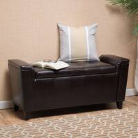 Alden Tufted Faux Leather Armed Storage Ottoman Bench by Christopher Knight Home