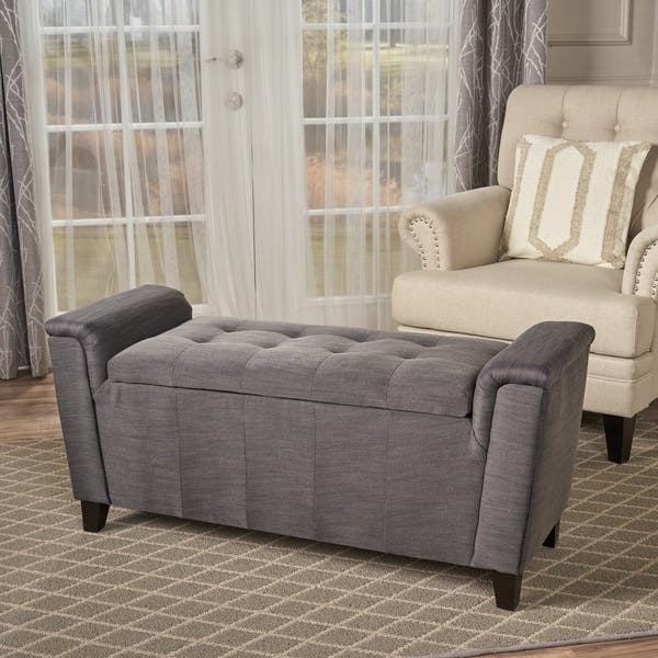Phenomenal Shop Alden Tufted Fabric Armed Storage Ottoman Bench By Gmtry Best Dining Table And Chair Ideas Images Gmtryco