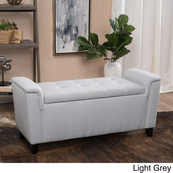 Stupendous Shop Alden Tufted Fabric Armed Storage Ottoman Bench By Gmtry Best Dining Table And Chair Ideas Images Gmtryco