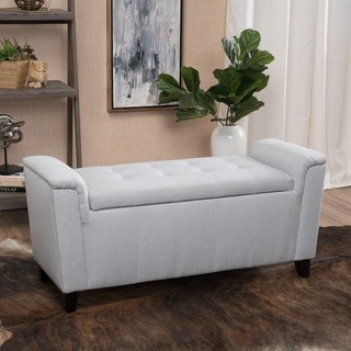 Christopher Knight Home Alden Tufted Fabric Armed Storage Ottoman Bench