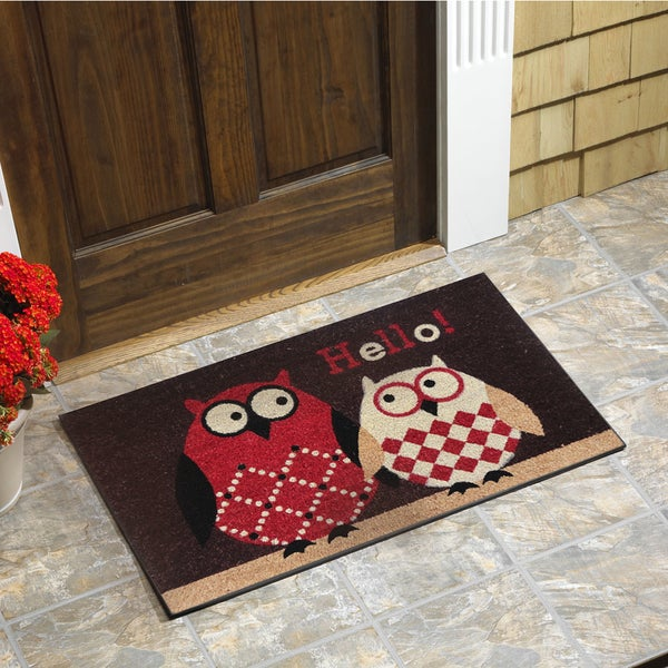 Shop Owls Vinyl Backed Coir Doormat Free Shipping On