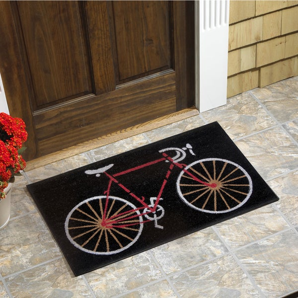 Shop Bicycle Vinyl Backed Coir Doormat Free Shipping On