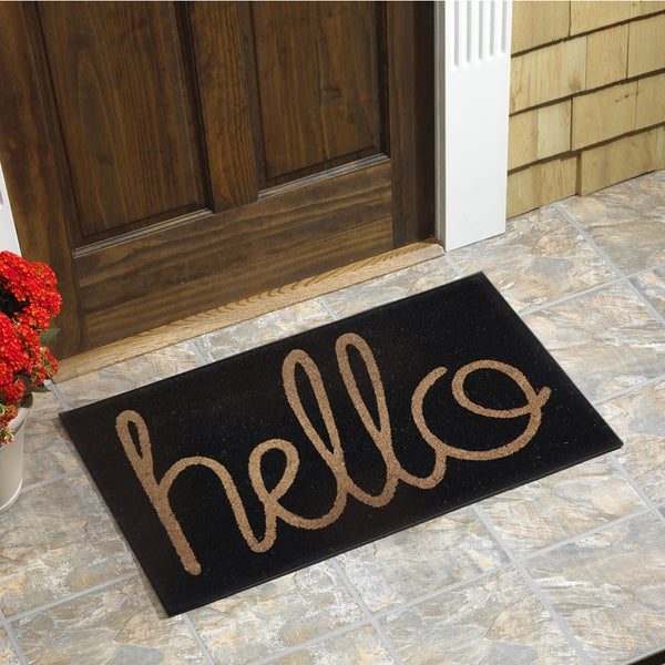 Hello Vinyl Backed Coir Door Mat Free Shipping On Orders