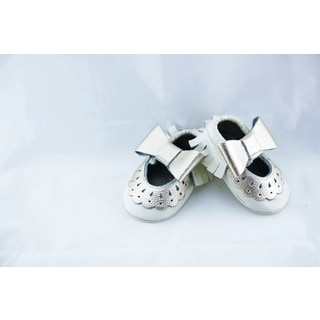 Genuine Leather White Mary Jane Baby/ Toddler Moccasin 2.5-3 Years Shoes