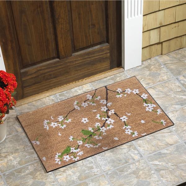"""Monogrammed Floor Mats >> Shop Cherry Blossom Vinyl Backed Coir Door Mat (18""""x30"""") - Overstock - 11489591"""