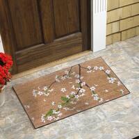 "Cherry Blossom Vinyl Backed Coir Door Mat (18""x30"")"