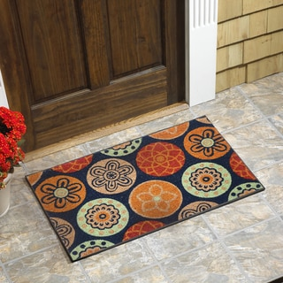 "Medallion Vinyl Backed Coir Door Mat (18""x30"")"