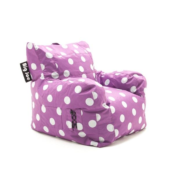 BeanSack Big Joe Pink With White Dots Dorm Bean Bag Chair