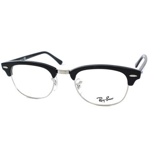 Ray-Ban RX 5154 2000 Shiny Black And Silver Clubmaster Plastic 49mm Eyeglasses