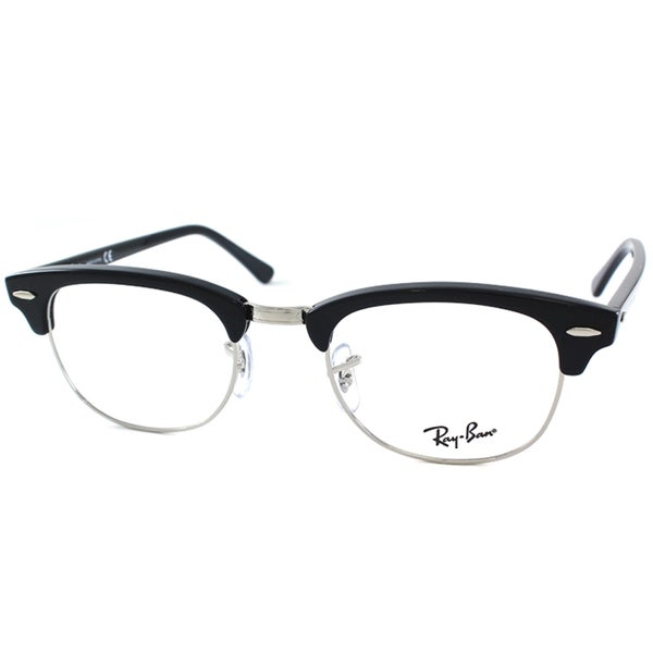 9e75e7b4b4 Ray-Ban RX 5154 2000 Shiny Black And Silver Clubmaster Plastic 49mm  Eyeglasses
