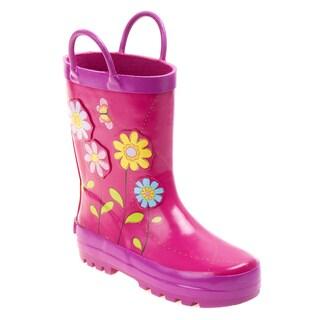 Laura Ashley Girls' Pink/ Multicolor Flower Rain Boots