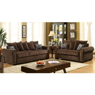 Furniture of America Pana Transitional 2-piece Brown Chenille Sofa Set