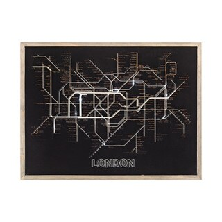 Dimond Home Tube Time Grey with Black 24-inch Wood and Glass London Tube Map Wall Decor