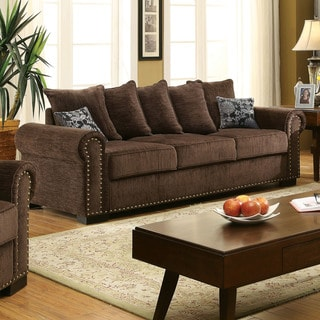 Furniture of America Pana Transitional Brown Chenille Nailhead Sofa