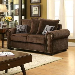 Furniture of America Pana Transitional Brown Chenille Loveseat
