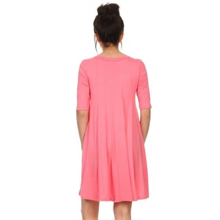 MOA Collection Women's Short Solid 3/4 Sleeve Tent Dress