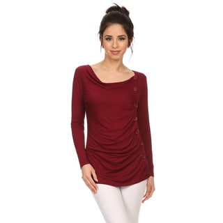 MOA Collection Women's Button Trim Top