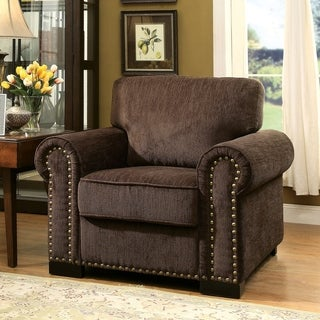 Furniture of America Pana Transitional Brown Chenille Chair