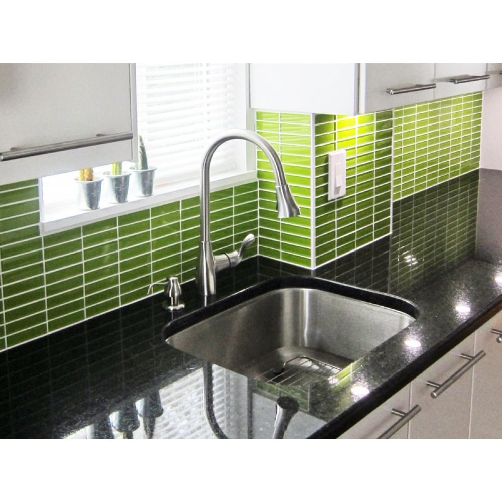 - Shop Lush 1x4 Lemongrass Green Glass Subway Tile - Overstock