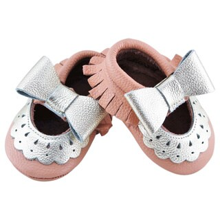 Genuine Leather Peach Mary Jane Baby/ Toddler Moccasin 2 - 2.5 Year Shoes