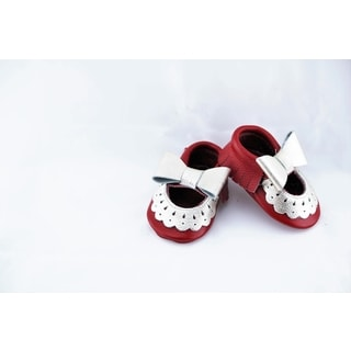 Genuine Leather Red Mary Jane Baby/ Toddler Moccasin 6-12 Month Shoes